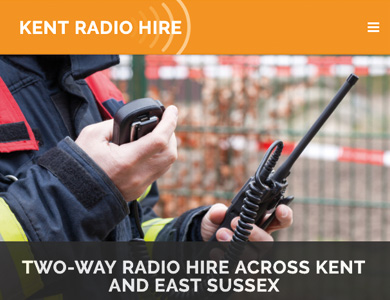 A screenshot of Kent Radio Hire's website