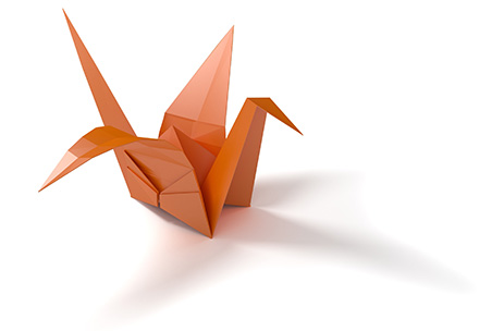 A paper crane to match our theme and bring attention to our client endorsements