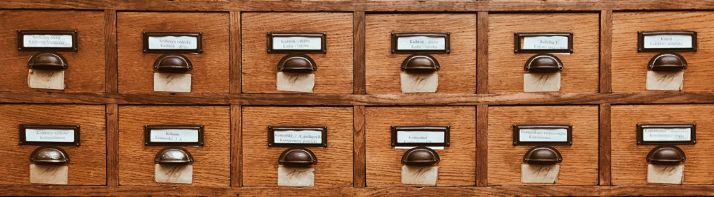 Card drawers representing a database